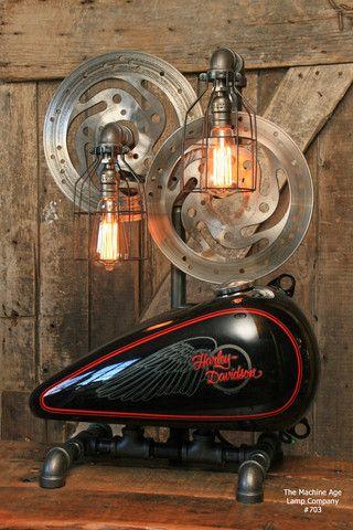 Steampunk Industrial Lamp Harley Davidson Motorcycle Gas Tank
