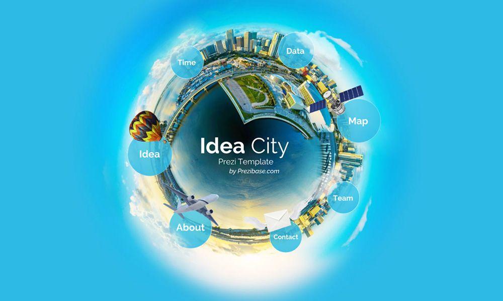 creative 3d small city planet prezi next presentation template, Presentation templates