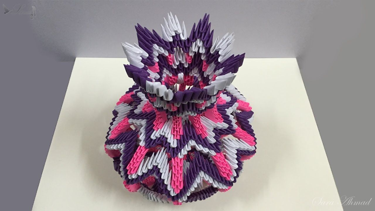 How To Make 3d Origami Vase 14 Part 1 3d Origami Origami Origami Crafts