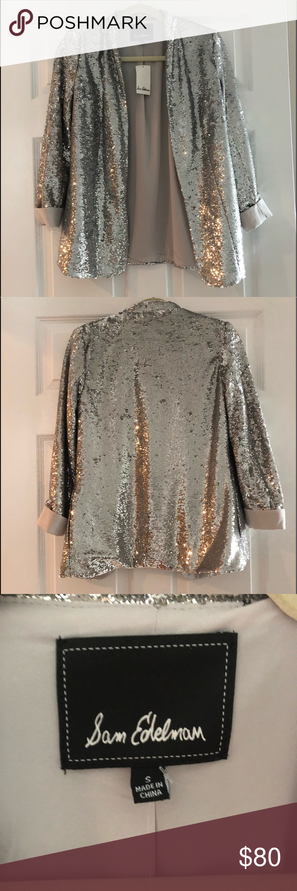 1196d3c32836 Sam Edelman Jacket Brand New NWT Never worn Bought for a new years eve  option and just never wore Silver all over sequins Sam Edelman Jackets &  Coats ...