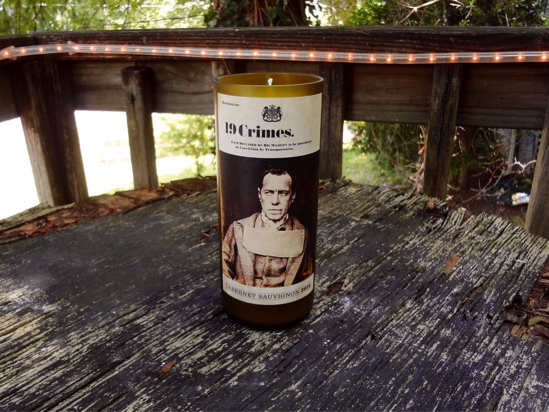 19 Crimes Wine Bottle Candle by UpcycledBottleWorks on