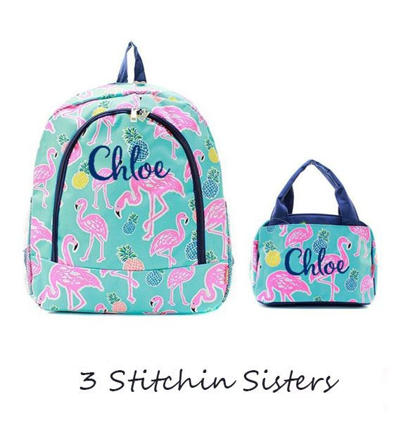 c9238a69368 Monogram flamingo Backpack Sets-backpack and lunch bags set-lunch boxes- backpacks-diaper bag