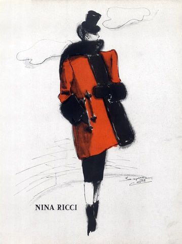 Nina Ricci (Coat & Fur) 1941 Jacques Costet 40s red black jacket color vintage fashion illustration