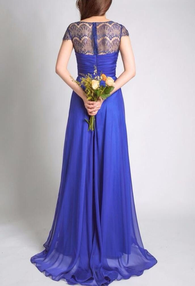 Royal Blue With Cap Sleeves Lace Chiffon A-line Wedding Party Long ...