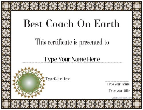 Special Certificate - Best Coach Ever CertificateStreet - acknowledgement certificate templates