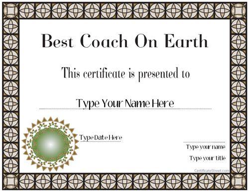 Special Certificate - Best Coach Ever CertificateStreet - fresh hard drive destruction certificate template