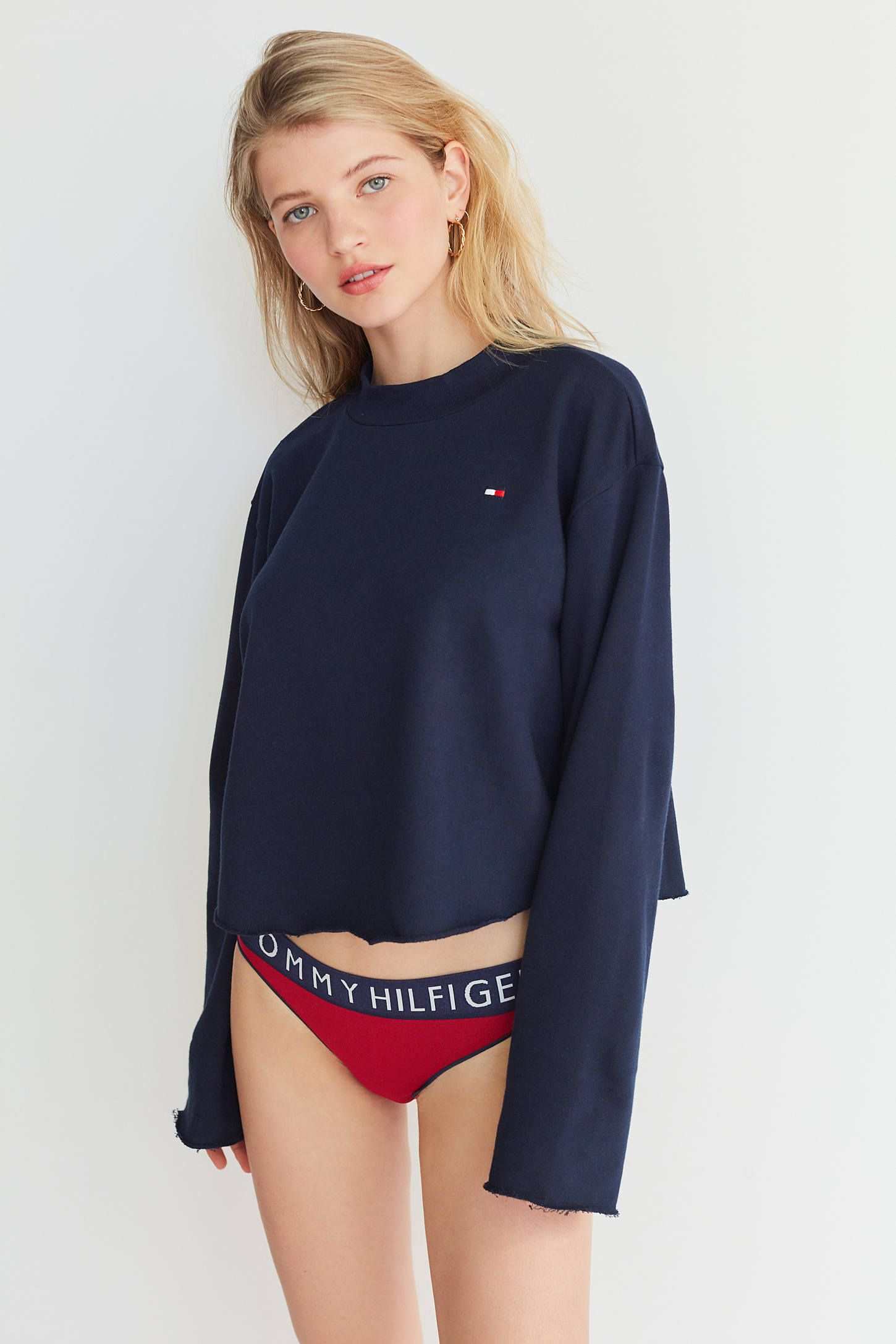 86c22281 Tommy Hilfiger UO Exclusive Mock-Neck Pullover Sweatshirt | Urban Outfitters