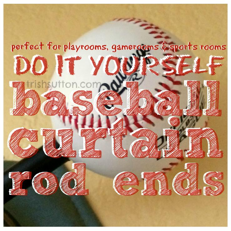 Diy Baseball Curtain Rod Ends Baseball Curtains Curtain Rod