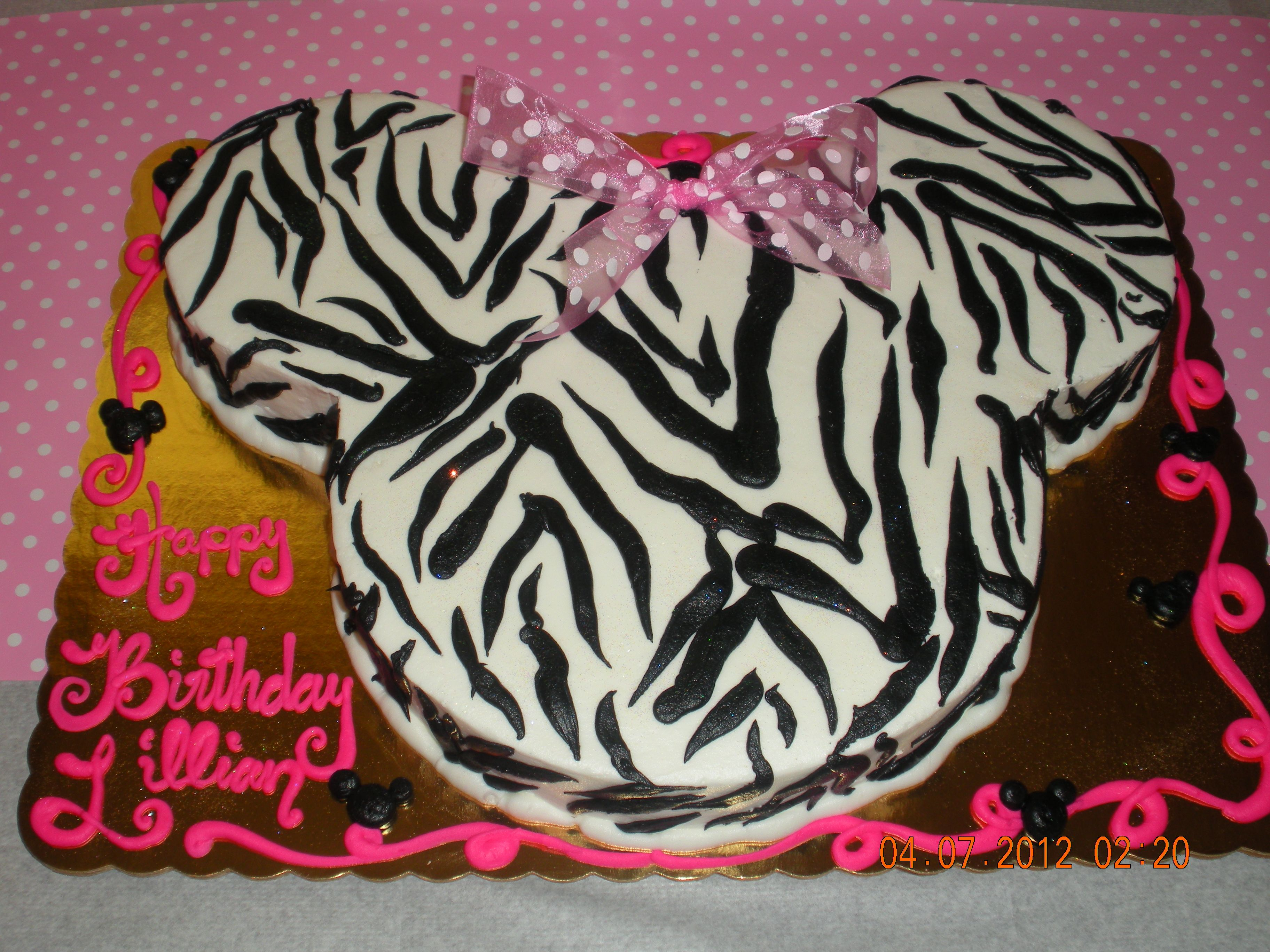 minnie mouse zebra print cake My daughters 1st birthday cake