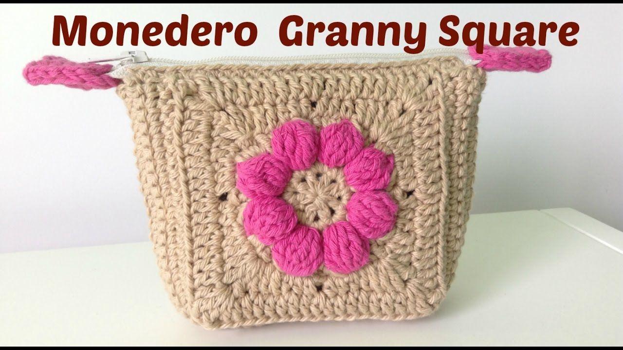 Monedero a crochet con granny square y cremallera | COSAS POR HACER ...