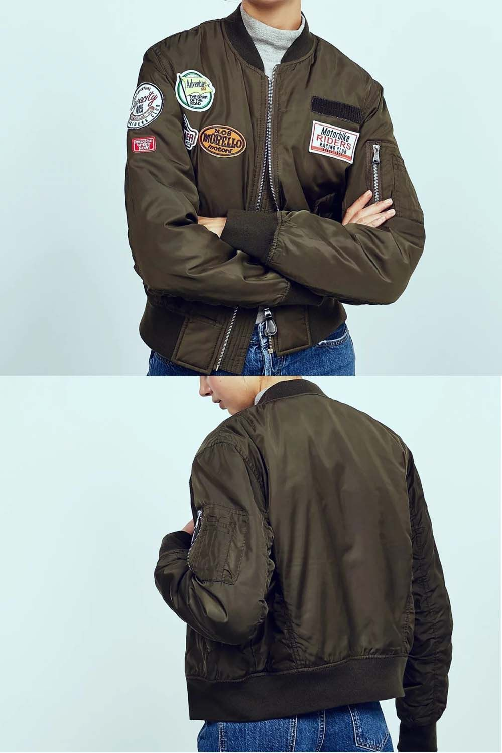 Army Green Cotton Badge Stickers Long Sleeve Bomber Jacket