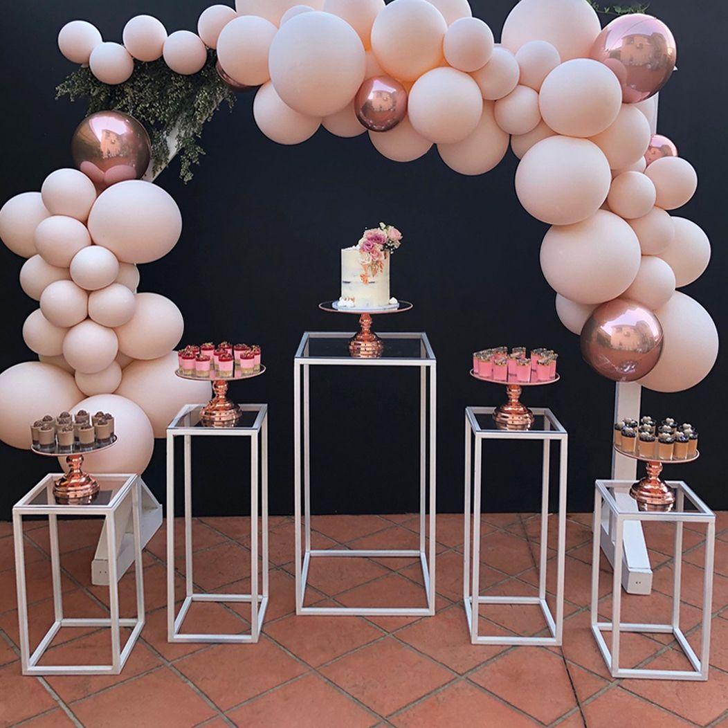 12 Inch Shiny Metallic Mirror Top Cake Stand Rose Gold Plated Dessert Table Birthday Birthday Table Decorations 21st Birthday Dessert