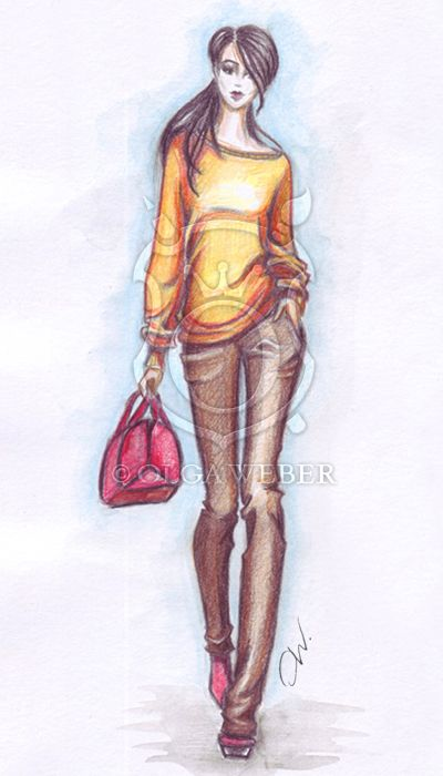 Fashion Sketch Casual Look By Ollustrator On Deviantart Fashion Sketches Fashion Illustration Fashion Art Illustration