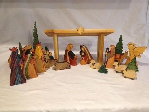 19 Piece Intarsia Nativity Set by WoodArtByMike on Etsy, $30000