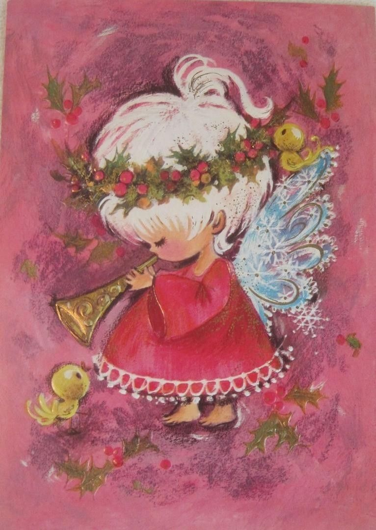 Vintage 1960s mod christmas card sweet white haired angel playing vintage 1960s mod christmas card sweet white haired angel playing horn pink kristyandbryce Gallery