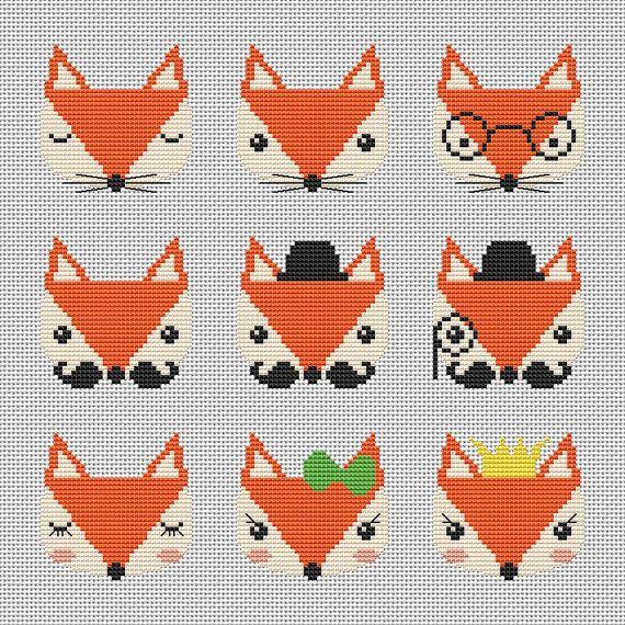 Nine cute foxes cross stitch pattern Modern cross stitch pattern ...