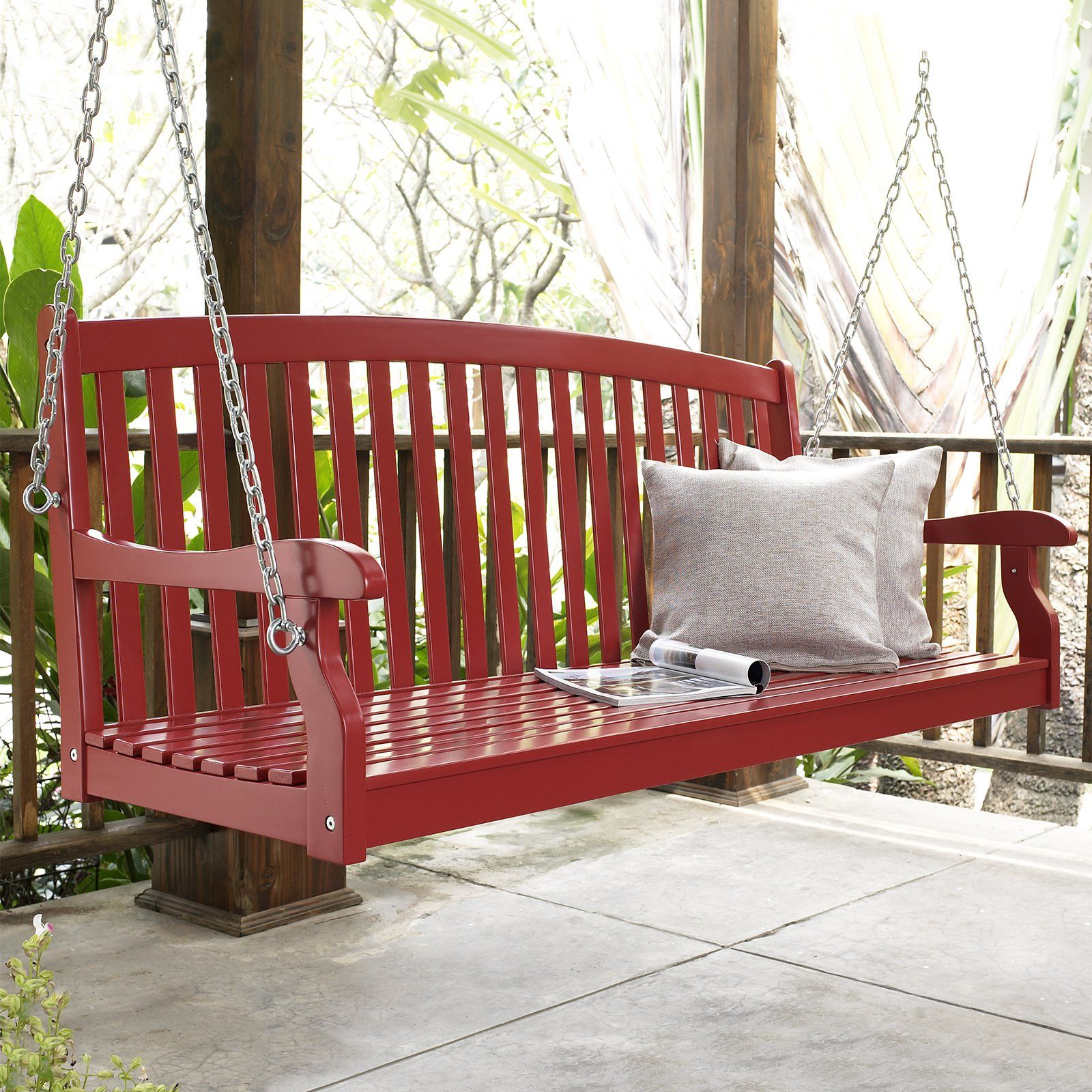 Coral Coast Pleasant Bay Curved Back Porch Swing Painted Red The Pleasant Bay Wood Painted Porch Swing Painte Porch Swing House With Porch Swing Painting