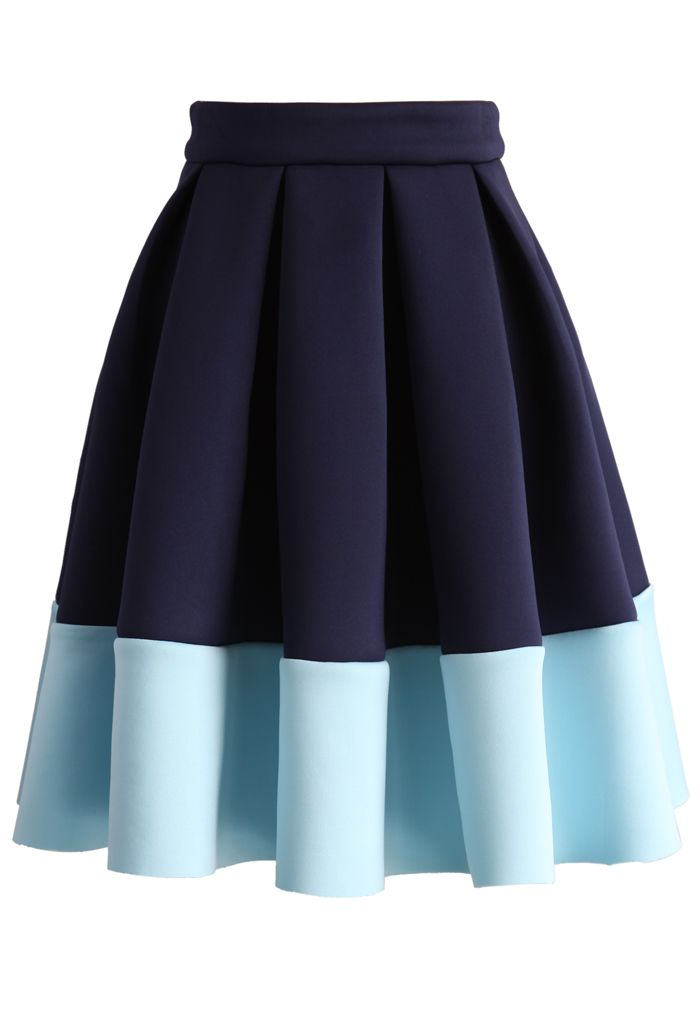 Blue Tones Airy Pleated Skirt | Rock, 50er mode und Näh-muster