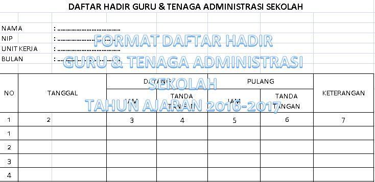 Contoh Format Daftar Hadir Guru Dan Tenaga Administrasi Sekolah