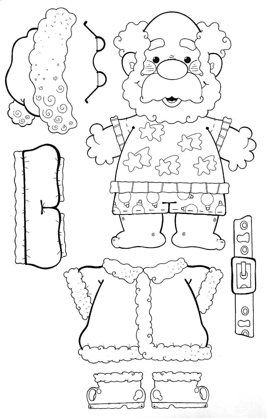 Make your own Santa | Paper doll | Pinterest | Navidad, Molde y Colorear