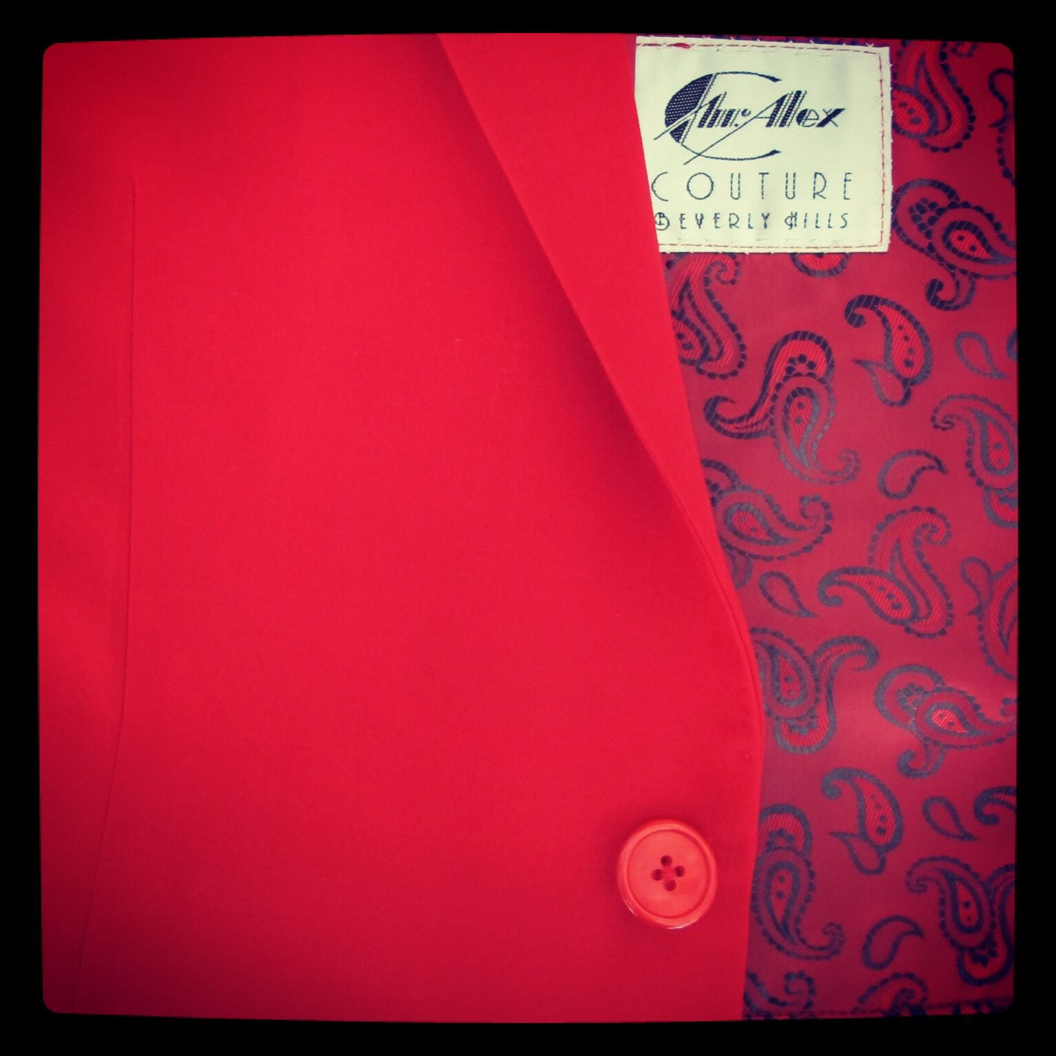 Fire red wool / red buttons / red paisley lining - custom suits and jackets at Mr. Alex Beverly Hills