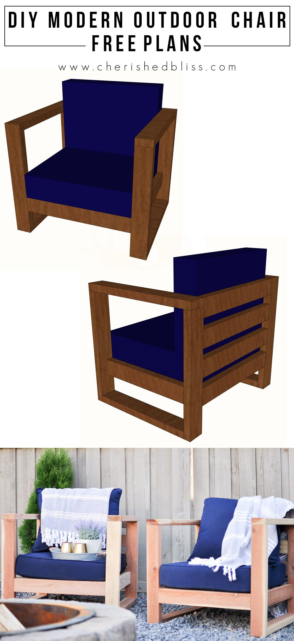 Diy modern outdoor chair free plans cherished bliss diy