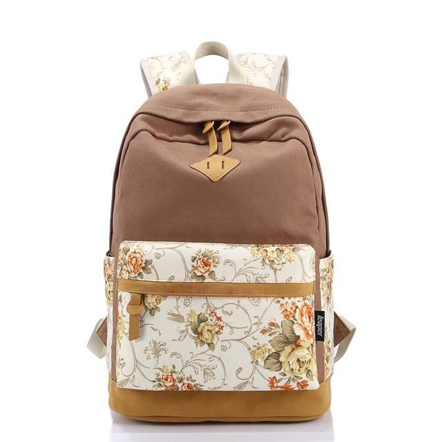 Zooron Flower Printing Female Canvas Backpack Women Korean Style Leisure Travel  Backpack Campus Students Backpack For 77d8409824