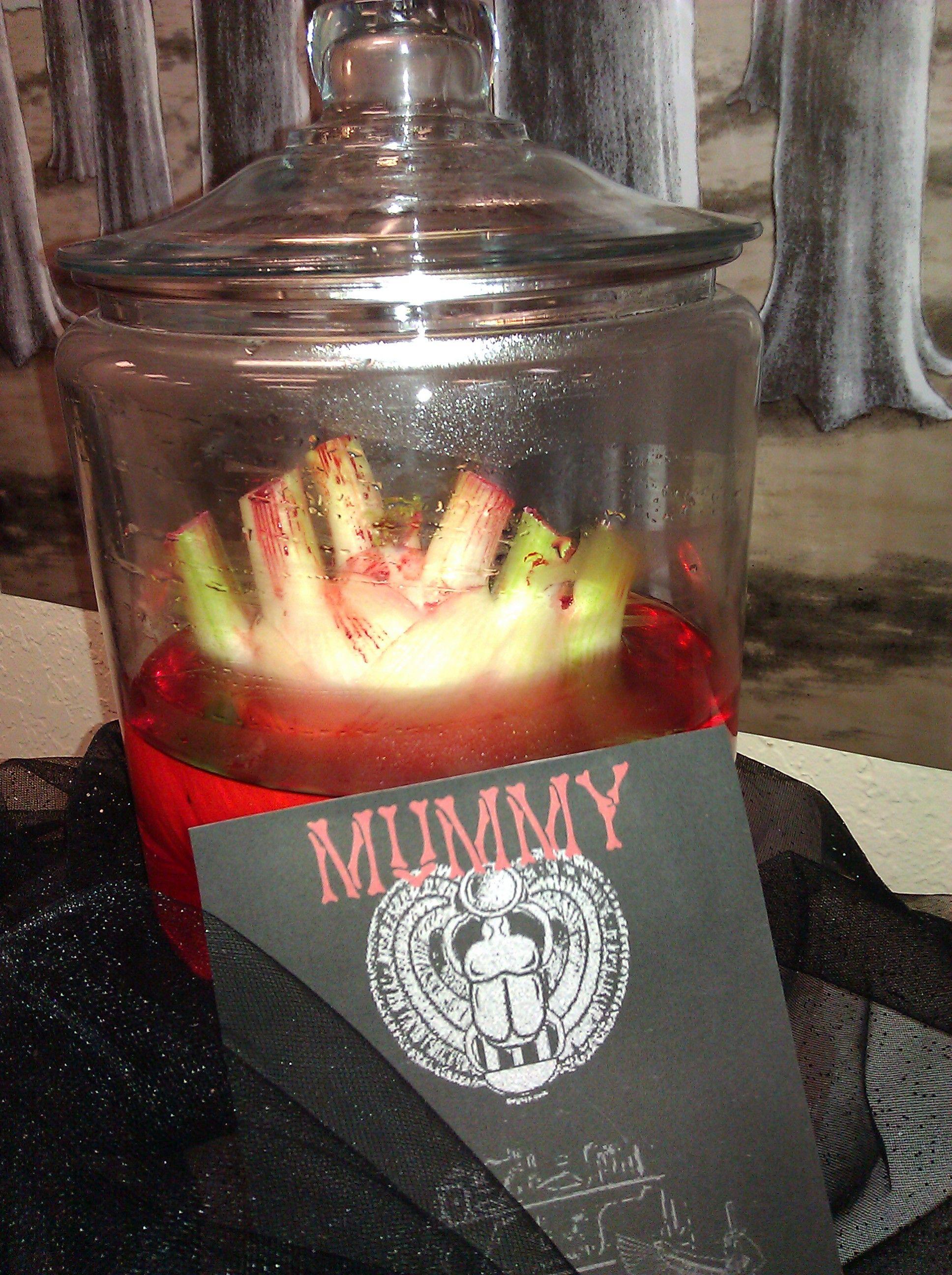Halloween Party Mummy S Heart Celery Stalk Bottom And