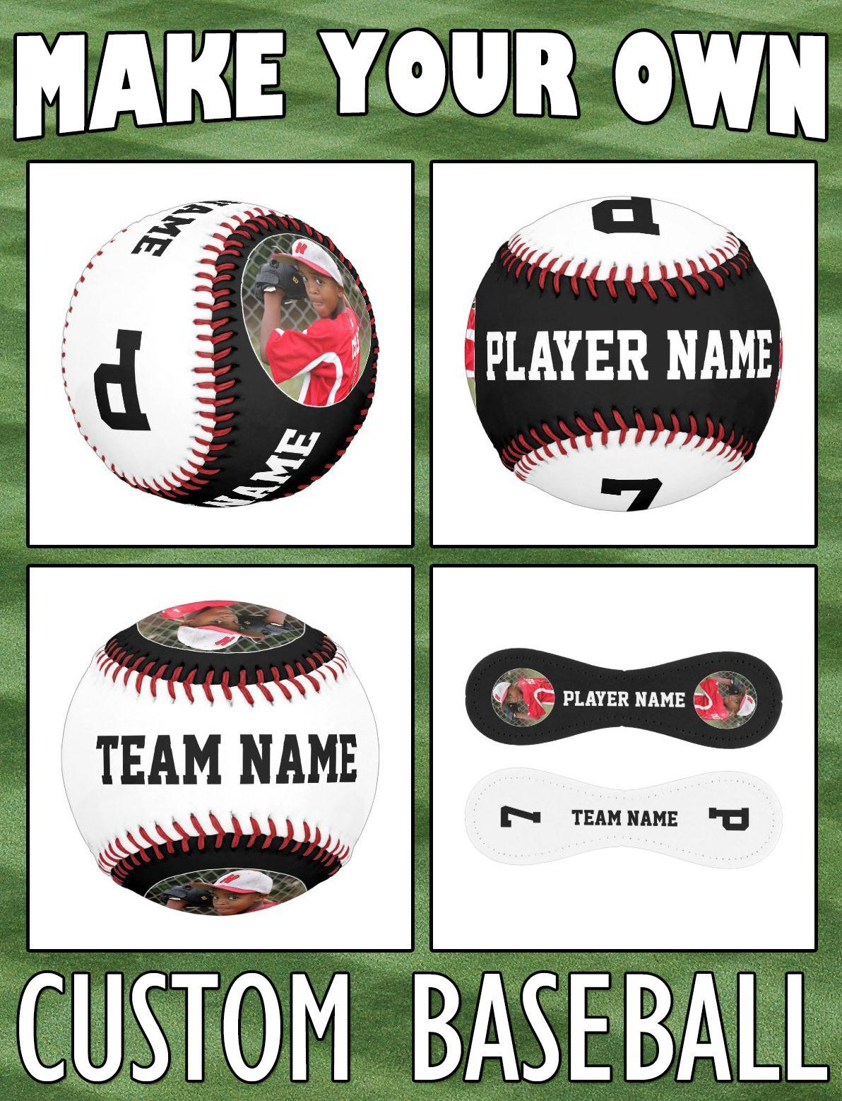 Custom Baseball Team Player Name Photo Number Zazzle Com In 2020 Gifts For Baseball Players Baseball Team Custom Baseballs