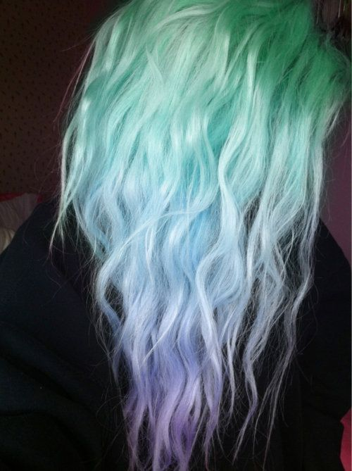 Green Blue Purple Ombre Hair Purple Ombre Hair Hair Color Pastel Dye My Hair