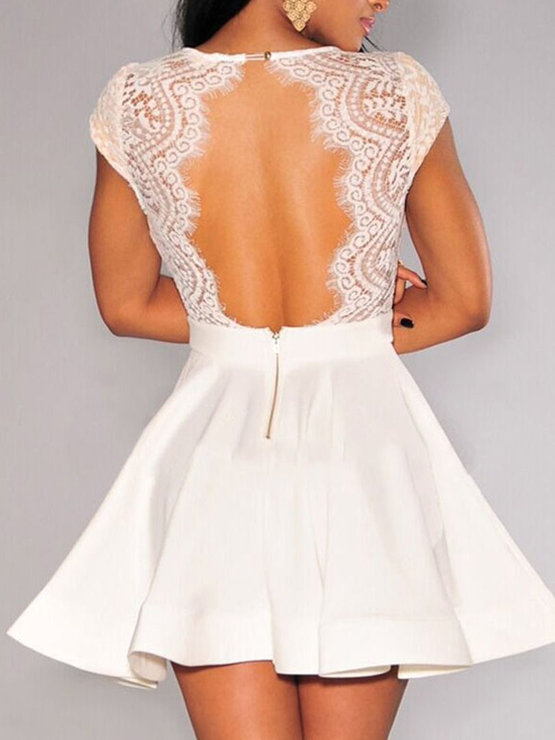 White V Neck Lace Top Backless Cap Sleeve Skater Dress 2016 Graceful Excellent Quality 24 9800 White Dresses For Women Backless Lace Dress Fashion [ 1080 x 810 Pixel ]