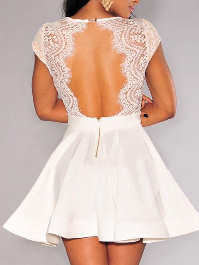 White V-neck Lace Top Backless Cap Sleeve Skater Dress | Shops ...