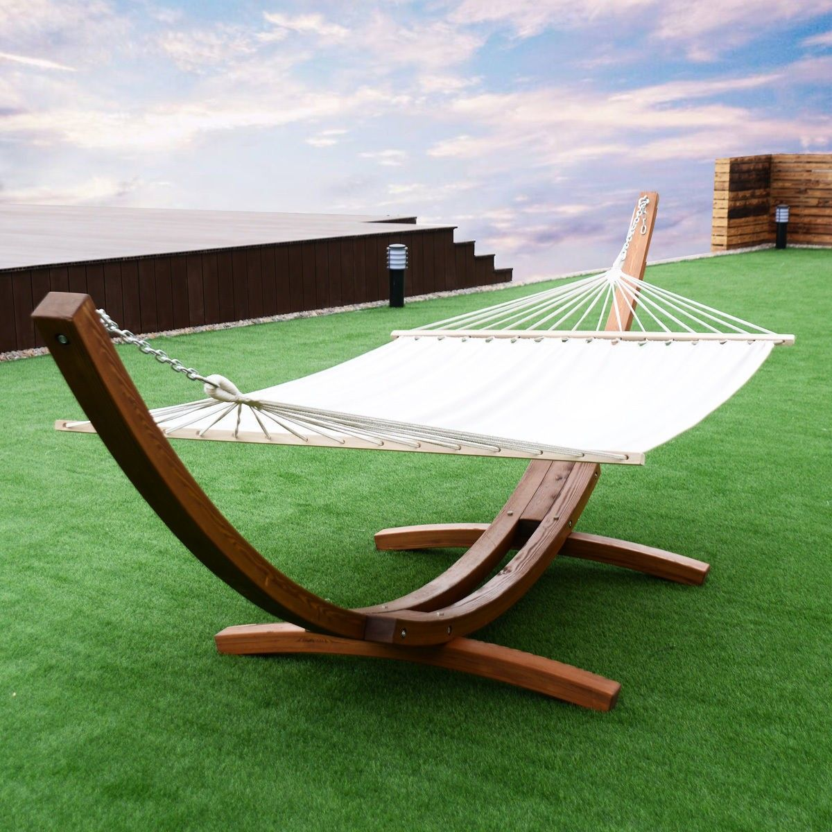 161 Outdoor Swing Wooden Curved Arc Hammock In