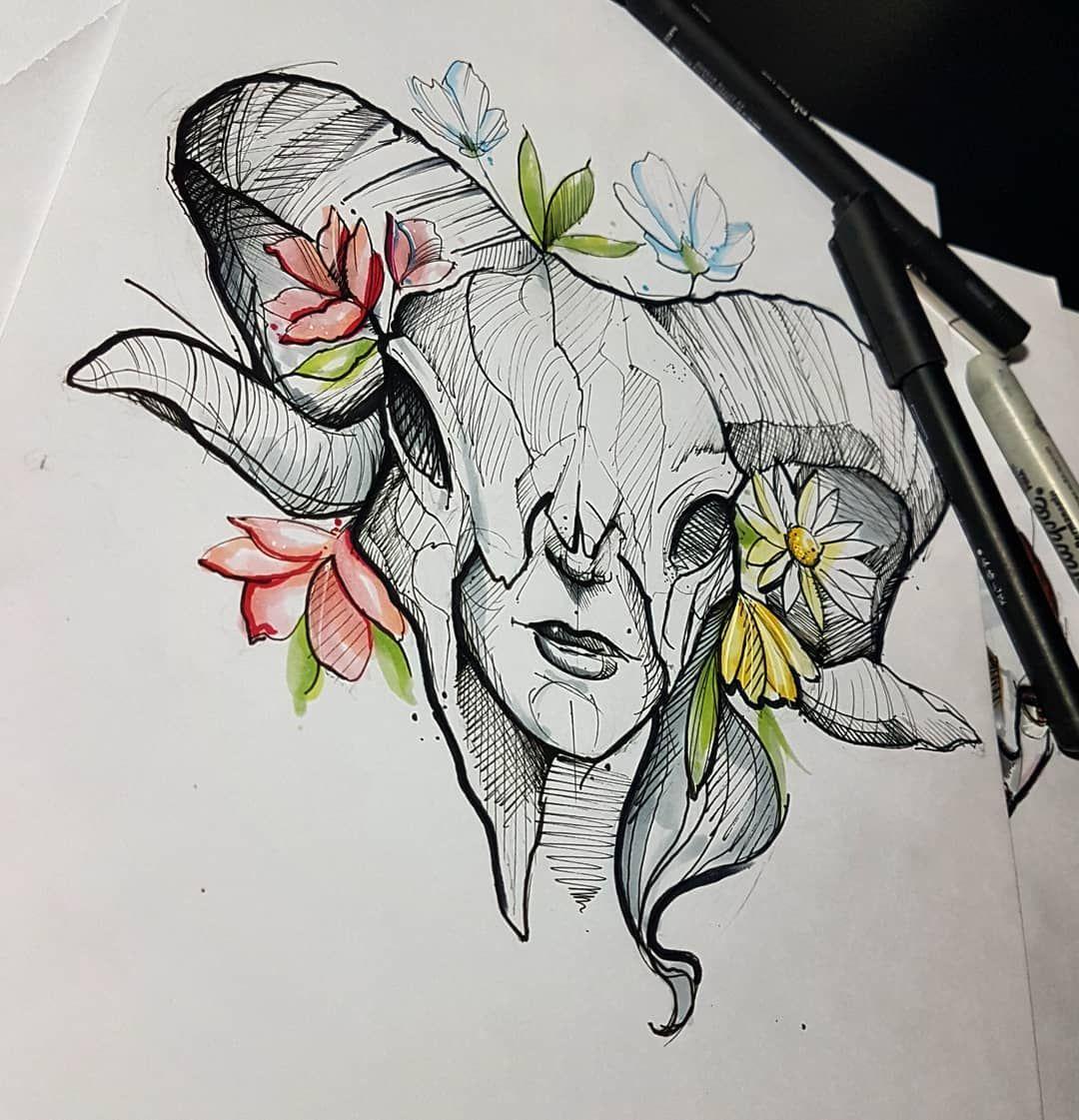 Skullady Tattoo Capricornio Sketch Art Copic Copicmarkers Painting Watercolorpainting Tatuagem Ta Tatuajes Capricornio Tatto Capricornio Capricornio