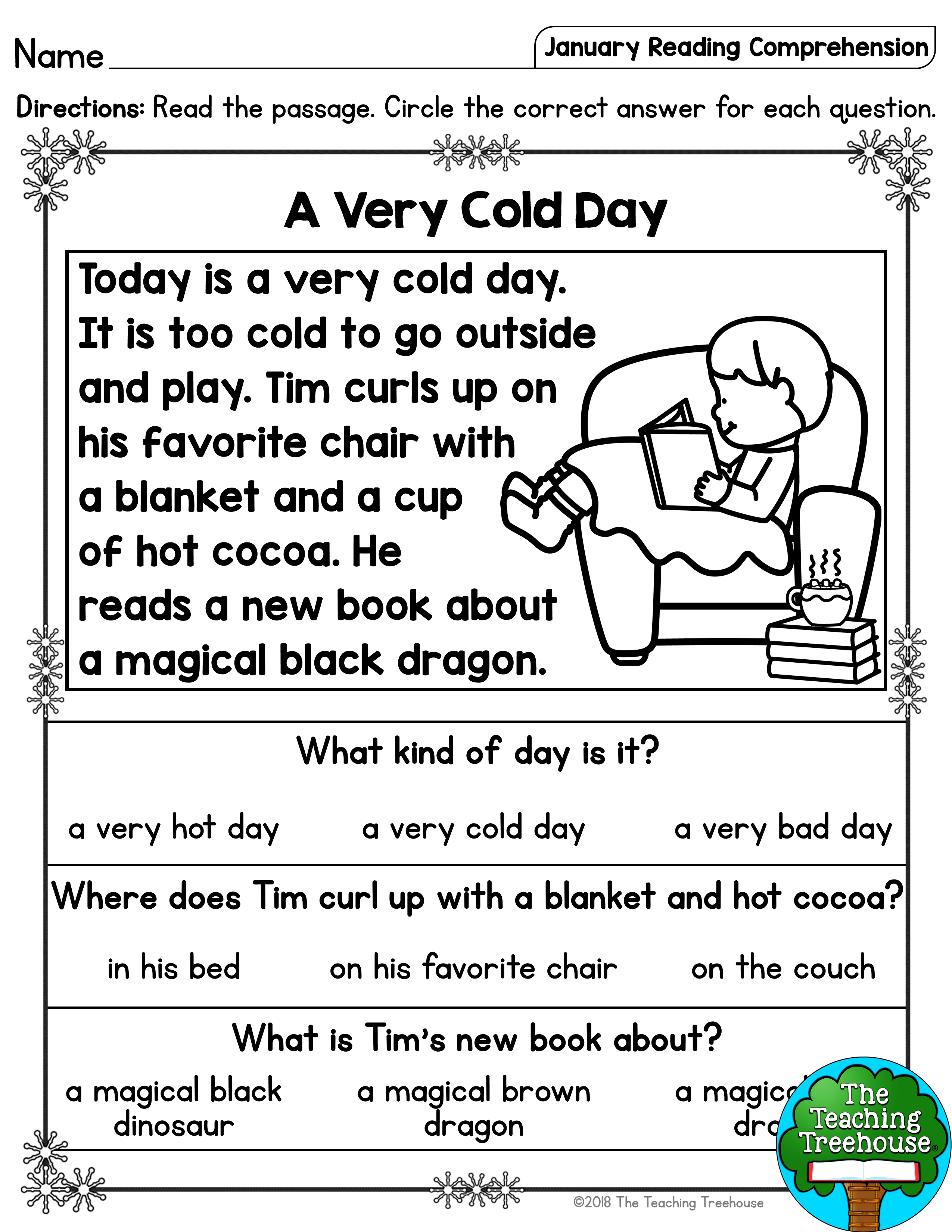 I hope that your students will enjoy these no prep January themed reading …    First grade reading comprehension [ 3300 x 2550 Pixel ]