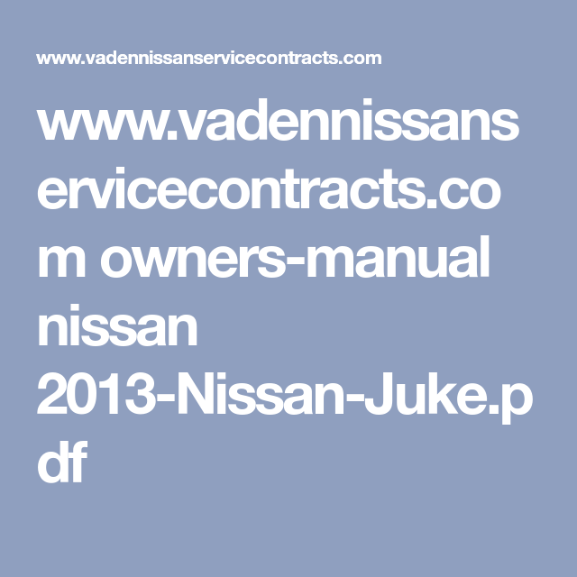 nissan juke owners manual 2013