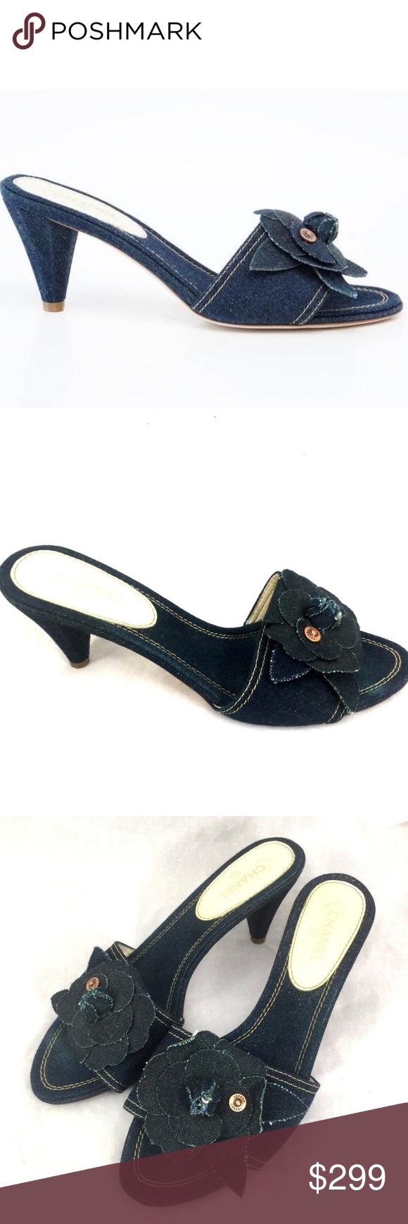 0deb07b2ef933 CHANEL Slide Mule Denim Jean Blue Camellia CC 38.5 CHANEL CAMELLIA ...