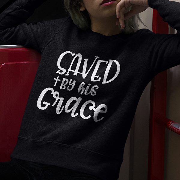 Saved by his grace long sleeve t-shirt | christian apparel