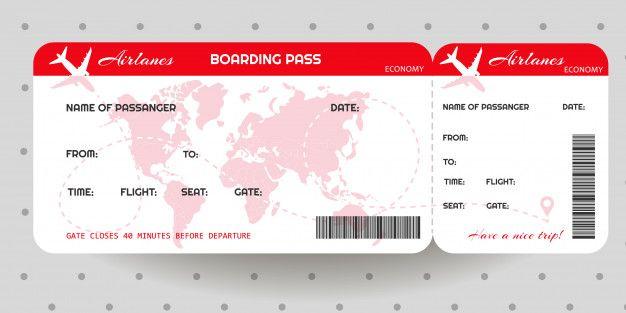 Modèle De Billet De Carte D'embarquement Pour Avion in 2020 | Boarding pass template, Flight ...