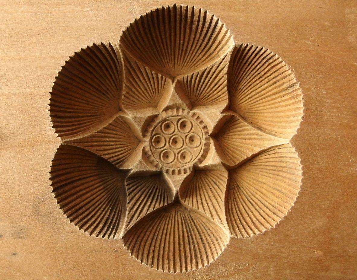 Antique japanese kashigata cake mold lotus flower wood