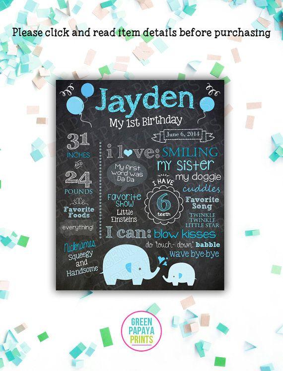 Boys Elephant First Birthday Chalkboard Any Age Milestone Poster