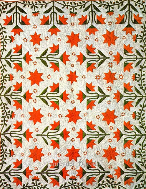 Pieced & Applique Quilt North Carolina Lily Wih Le Moyne Star 1855 ...