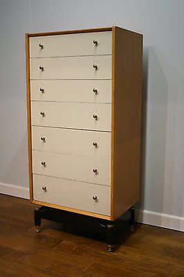 Vintage Retro S G Plan Oak Chinese White Chest Of Drawers Tallboy S