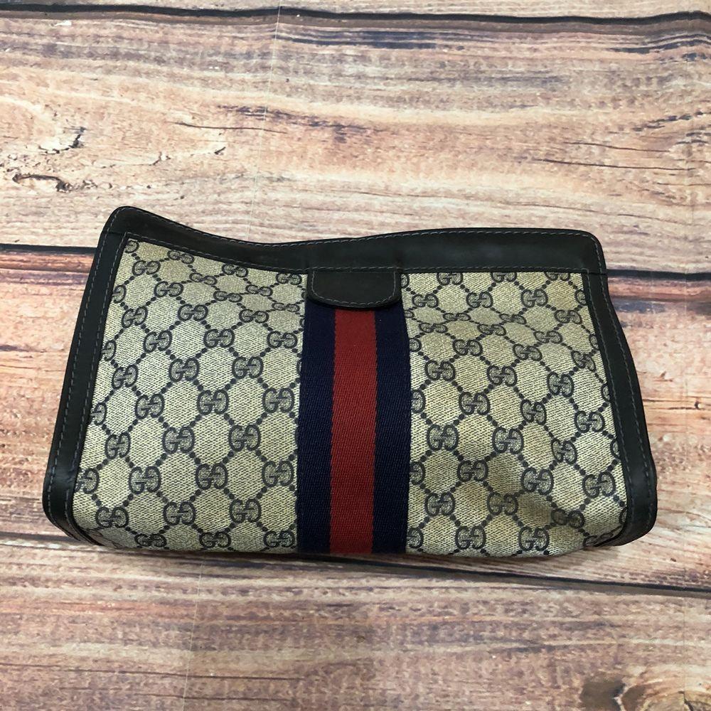 69a82d2b5904 Authentic Vintage GUCCI PARFUMS Web Clutch Purse Cosmetic Bag Handbag | eBay
