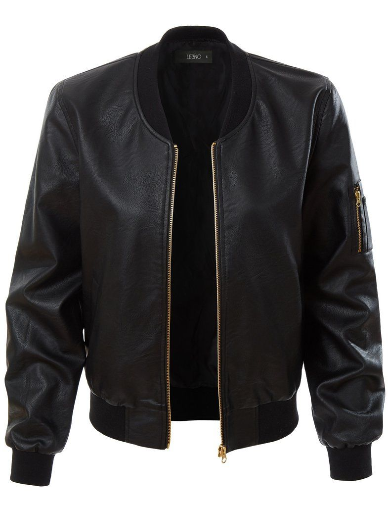 Le3no Womens Lightweight Faux Leather Varsity Bomber Jacket Leather Jackets Women Varsity Bomber Jacket Fake Leather Jacket [ 1024 x 785 Pixel ]