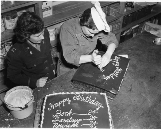 Two Members of the Women's Army Corps (WAC) Prepare Birthday Cakes ~