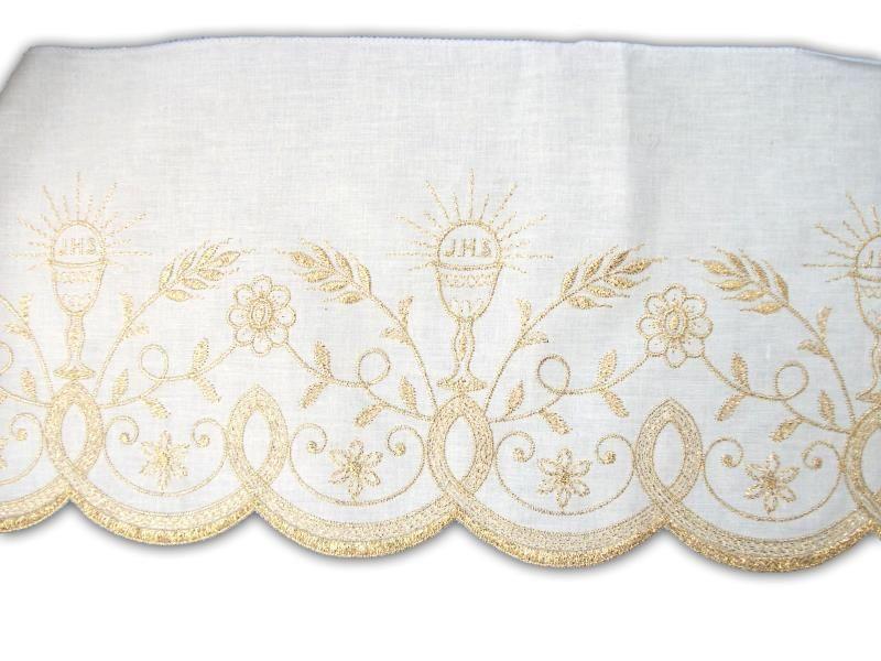 Pizzo bianco e oro altezza cm 20 bordi semprini arredi sacri arte