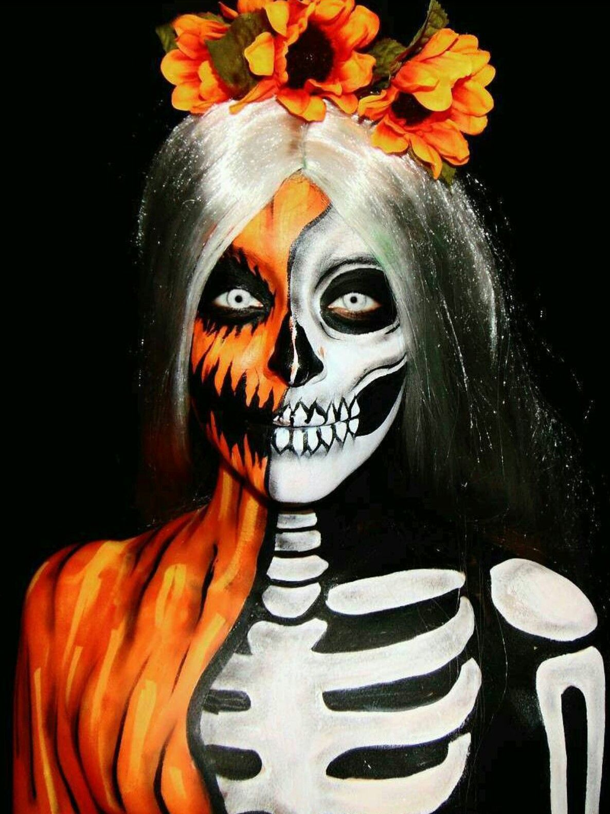 Skull pumpkin face paint Amazing halloween makeup