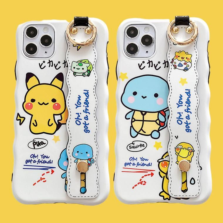 Cute pokemon wrist strap bracket phone case for iphone 7