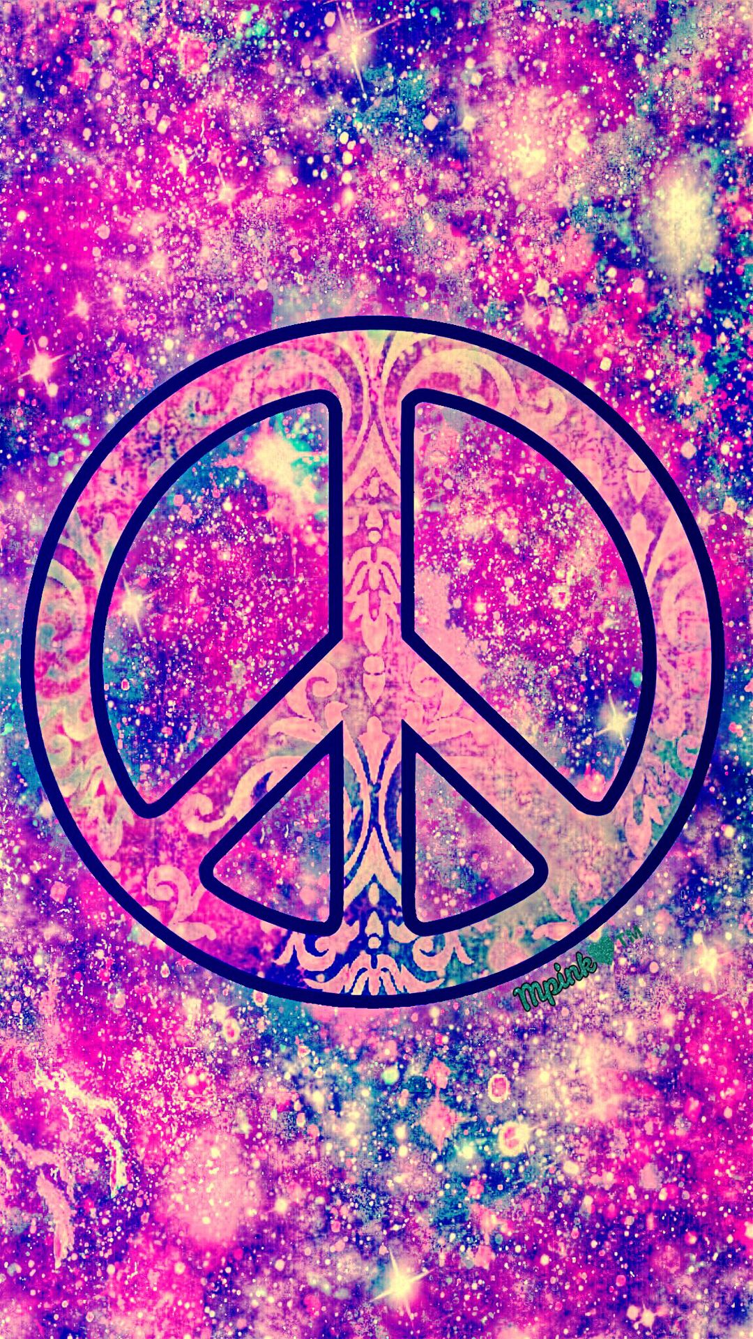 Vintage Peace Sign Galaxy Wallpaper androidwallpaper